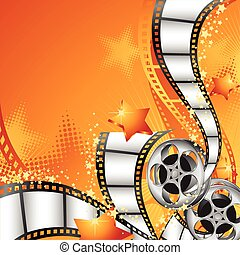 Orange vector illustration with film reels, strips and lots of little stars.