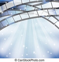 background with filmstrip and stars, stripes, lights on top border