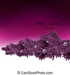 Background with fir branches and metallic balls. - Magenta...