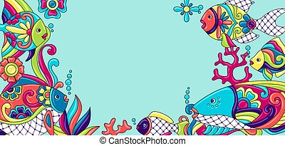 Background with fishes. Mexican ceramic cute naive art....