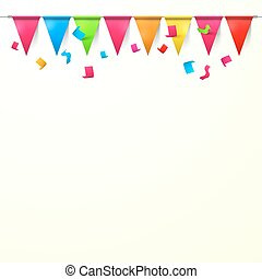 Background with Flags and Confetti. Empty Space Vector Backdrop for Designs.