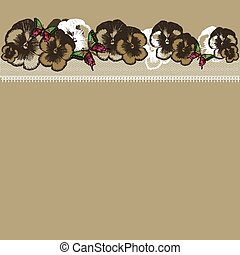 Background with floral ornament and lace, hand-drawing. Vector illustration.