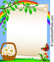 background with flower butterfly and rainbow
