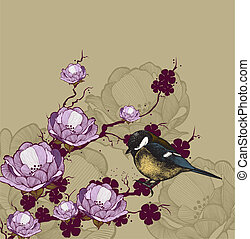 Background with flowering branch and bird titmouse, hand-drawing. Vector illustration.