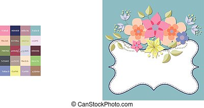 Background with flowers and banner