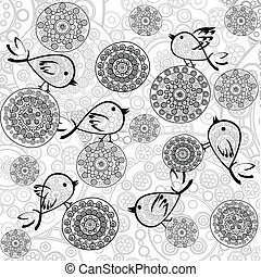 Background with flowers and birds