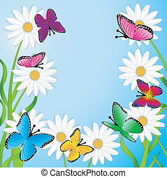 background with flowers and butterflies, vector illustration