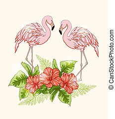 Background with flowers and pink flamingo - Vector summer...
