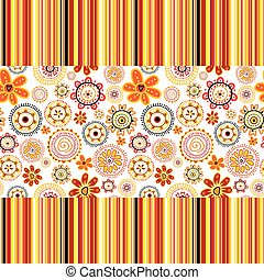 Background with flowers and stripes