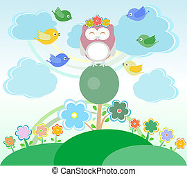 Background with flowers, birds and owl sitting on the tree