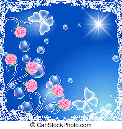Background with flowers, butterflies and bubbles