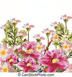 Background with flowers in pink