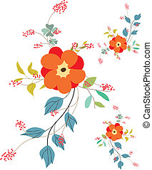background with flowers in retro