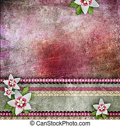 Background with flowers, lace