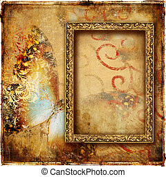 Background With Frame And Butterfly