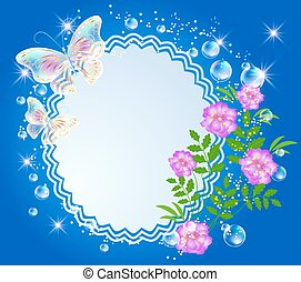 Background with frame, flowers and butterfly