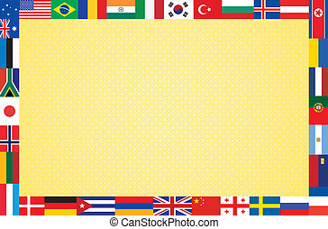 background with frame made of flags