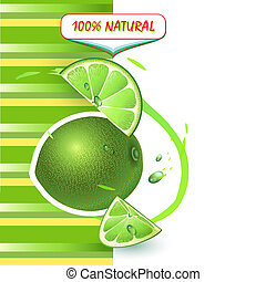 Background with fresh lime and lime slices