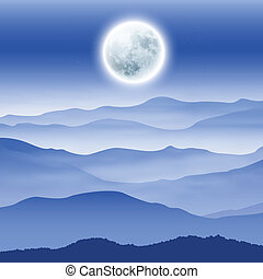 Background with fullmoon and mountains in the fog