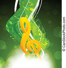 Background with g-clef - Background with yellow g-clef in...