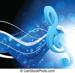 Background with g-clef - Bright blue background with g-clef...