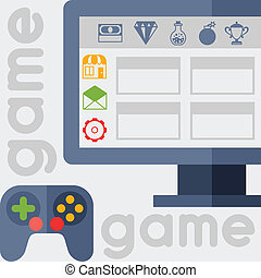 Background with game icons in flat design style.
