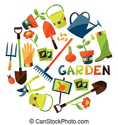 Background with garden design elements and icons.