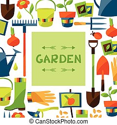 Background with garden design elements and icons