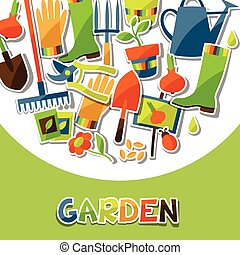 Background with garden sticker design elements and icons