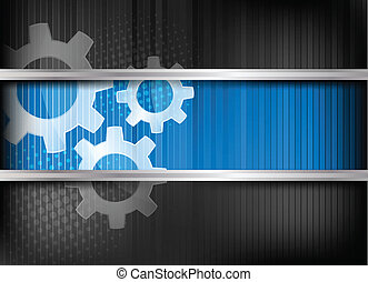 Background with gears - Background with three gears and blue...