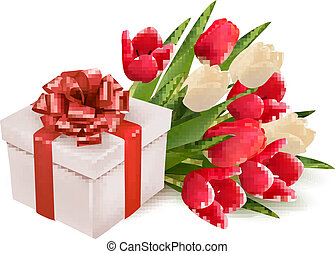 background with gift box and flowers. Vector.