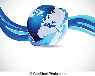 Background with globe and arrow. Abstract tech illustration