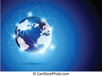 Background with globe - Bright blue background with orbit of...