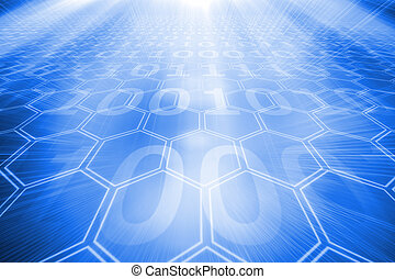 Background with glowing hexagons