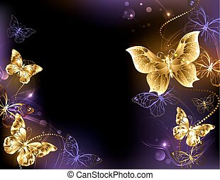 background with gold butterflies