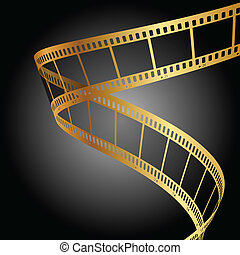 background with gold film strip - Vector background with...