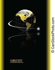 background with gold globe - Abstract, business background...