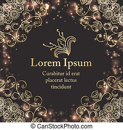 Background with gold graphic florals - Background with gold...