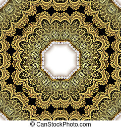 background with gold lace and pearls - illustration...