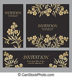 Background with gold myosotis (forget-me-not) graphic flowers