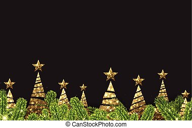 Background with golden abstract Christmas trees.