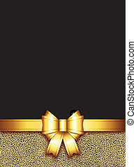 background with golden bow - golden bow background with copy...