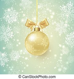 Background with Golden Christmas ball and Snowflakes.