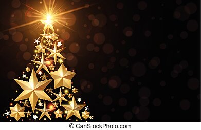 Background with golden Christmas tree.