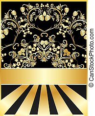 Background with golden floral
