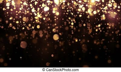 Background with golden glitter falling particles and bokeh. Beautiful light background. Falling gold confetti with magic light. Seamless loop