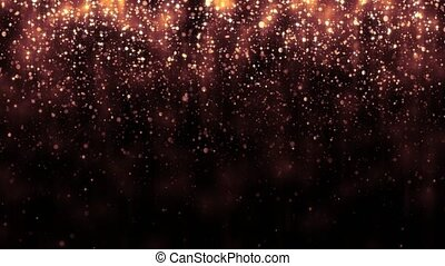 Background with golden glitter falling particles. Beautiful holiday background template for premium design. Falling gold particle with magic light. Seamless loop