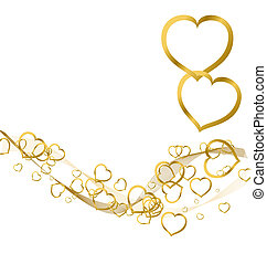 Background with golden hearts - Valentines background with...
