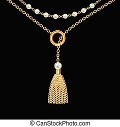 Background with golden metallic necklace. Tassel, pearls and chains. On black. Vector illustration