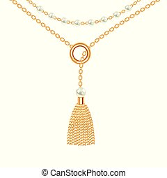 Background with golden metallic necklace. Tassel, pearls and chains. On white. Vector illustration